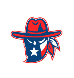 Texan outlaw texas flag mascot vector