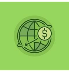 Transfer money green icon vector
