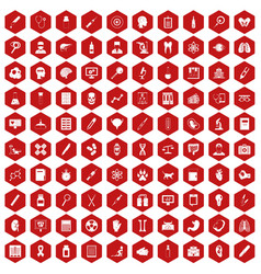 100 diagnostic icons hexagon red vector image vector image