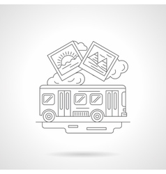 Bus journey detailed line vector