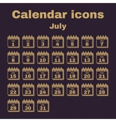 The calendar icon july symbol flat vector