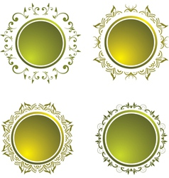 Floral vintage button vector