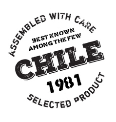 Assembled in chile rubber stamp vector