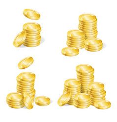 Realistic coin stack set vector