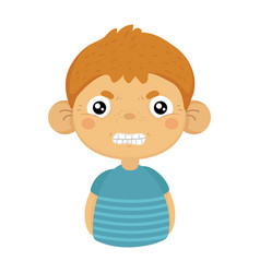 Angry cute small boy with big ears in blue t-shirt vector