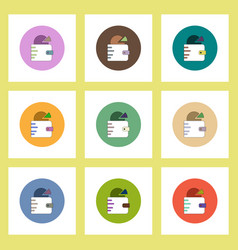 Flat icons set of business pie chart in wallet vector