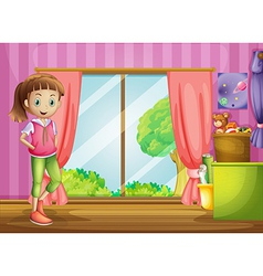A girl inside the house with her toys vector image