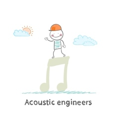 Acoustic engineer standing on a big note vector