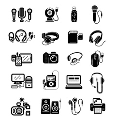 Digital devices in black colour icons set vector