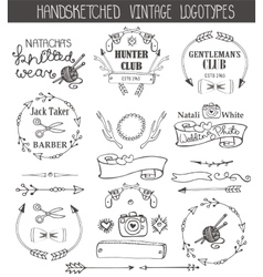 Vintage logotypes template setdoodle hand sketchy vector