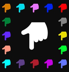 Pointing hand icon sign lots of colorful symbols vector