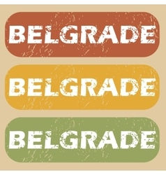 Vintage belgrade stamp set vector