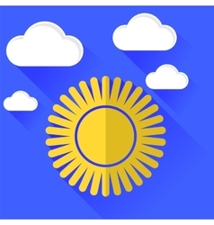 Sun icon isolated on blue sky background vector