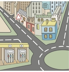 Urban street and homes vector