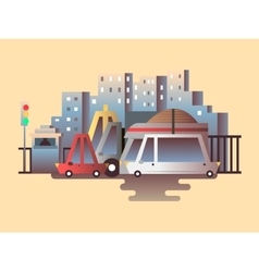 Road traffic design flat vector