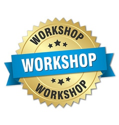 Workshop 3d gold badge with blue ribbon vector