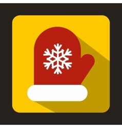 Red mitten with white snowflake icon flat style vector