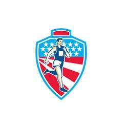 American Marathon Runner Running Shield Retro vector image vector image