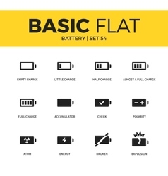 Basic set of battery icons vector