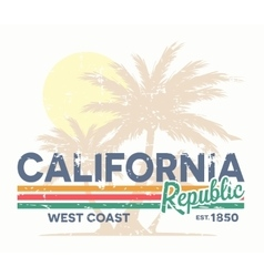 California republic typography vintage tee print vector