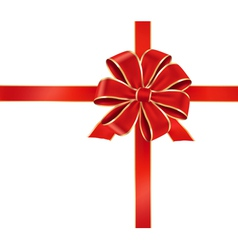 card with red gift bow vector image vector image