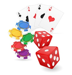 Casino items cards ace and chips dice vector