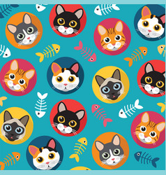 Cats and fishbone full color vector