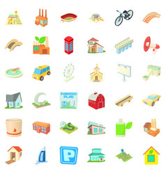 cityscape icons set cartoon style vector image vector image