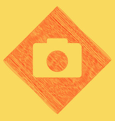 digital camera sign red scribble icon vector image
