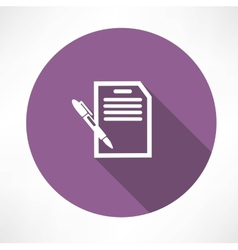 document with pen icon vector image vector image