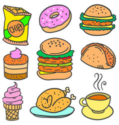 Doodle of food with donut coffe vector