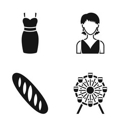 dress girl and other web icon in black style vector image