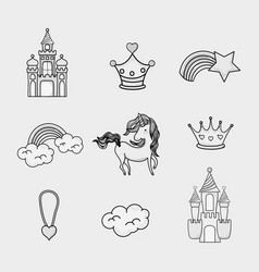 Fantasy and magic world doodle icons vector
