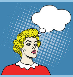 girl with thoughts bubble in pop art comics style vector image vector image