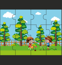 Jigsaw puzzle pieces for kids in the park vector