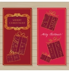 Merry christmas cards on wooden background vector image