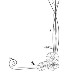 nasturtium and dragonflies vector image vector image