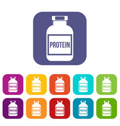 Nutritional supplement for athletes icons set vector