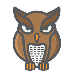 owl filled outline icon halloween and scary vector image