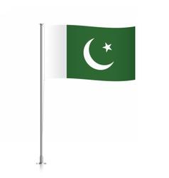 Pakistani flag waving on a metallic pole vector image vector image
