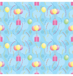 pattern with balloons carrying presents vector image