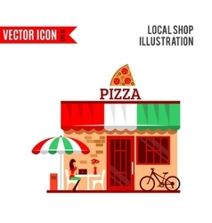 pizza restaurant with terrace in front vector image