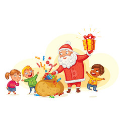 santa claus brings gifts to children vector image