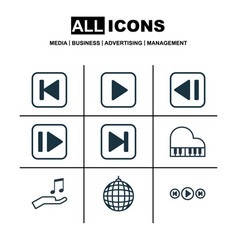 Set of 9 audio icons includes audio buttons skip vector