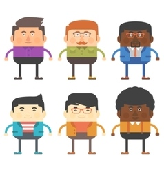 set of six men characters different races vector image
