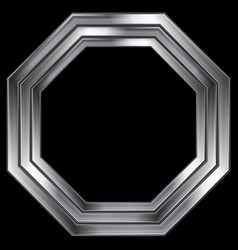 Silver metallic octagon shape design vector