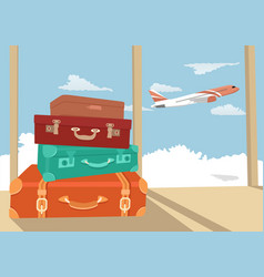 stack of traveling luggage in airport terminal vector image