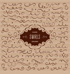 swirls flourish collection calligraphic vector image