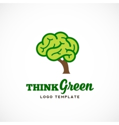 Think green abstract eco logo template vector