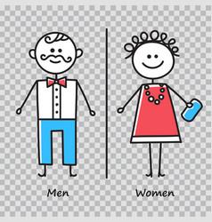 wc toilet door plate icons set men and women vector image